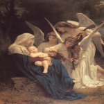 William Bouguereau (1825-1905)  La Vierge aux Anges [The Virgin with Angels]  Oil on canvas, 1881  84 x 60 inches (213.4 x 152.4 cm)  Museum at Forest Lawn Memorial-Park, Glendale