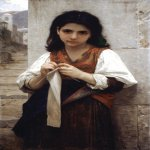 William Bouguereau (1825-1905)  Tricoteuse [The Little Knitter]  Oil on canvas, 1879  39 1/2 x 23 3/4 inches (100.5 x 60.5 cm)  Private collection