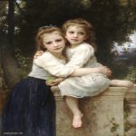 William Bouguereau (1825-1905)  Deux Soeurs [Two Sisters]  Oil on canvas, 1901  43 1/2 x 30 7/8 inches (110.5 x 78.5 cm)  Lawrence University, Appleton