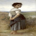 William Bouguereau (1825-1905)  Jeune Bergere [Young Shepherdess]  Oil on canvas laid down on board, 1885  62 x 28 1/2 inches (157.5 x 72.5 cm)  San Diego Museum of Art, San Diego