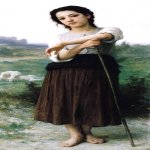 William Bouguereau (1825-1905)  Jeune Bergиre Debout [Young Shepherdess Standing]  Oil on canvas, 1887  62 x 28 7/8 inches (157.5 x 73.5 cm)  Private collection