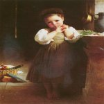 William Bouguereau (1825-1905)  Petite boudeuse [The Little Sulk]  Oil on canvas, 1871  41 1/8 x 30 7/8 inches (104.7 x 78.7 cm)  Private collection