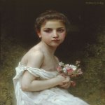 William Bouguereau (1825-1905)  Petite fille au bouquet [Little girl with a bouquet]  Oil on canvas laid down on masonite, 1896  25 5/8 x 21 3/8 inches (65.4 x 54.6 cm)  Private collection