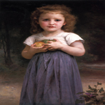 William Bouguereau (1825-1905)  Petite fille tenant des pommes dans les mains [Little girl holding apples in her hands]  Oil on canvas, 1895  36 3/4 x 21 5/8 inches (93.5 x 55 cm)  Private collection