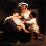 William Bouguereau (1825-1905)  Le sommeil [Asleep at last]  Oil on canvas, 1864  24 1/4 x 20 1/8 inches (61.6 x 51.4 cm)  Private collection