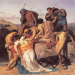William Bouguereau (1825-1905)   Zénobia retrouvée par les bergers sur les bords de l'Araxe[Zenobia Found by Shepherds on the Banks of the Araxes]  Oil on canvas, 1850  58 1/4 x 46 3/8 inches (148 x 118 cm)  Ecole des Beaux-Arts, Pa