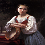 William Bouguereau (1825-1905)  Bohemienne au Tambour de Basque [Gypsy Girl with a Basque Drum]  Oil on canvas, 1867  39 1/4 x 25 inches (100 x 63.5 cm)  Private collection