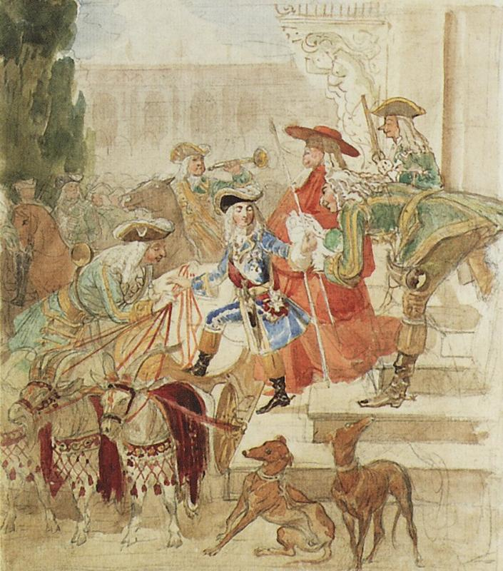 Brulloff Karl (1799 - 1852)	  Walk Louis XV in childhood  Watercolor on paper, graphite pencil, 1850  33.4x26.5 cm  The Tretyakov Gallery, Moscow, Russia