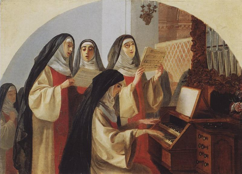 Brulloff Karl (1799 - 1852)  Nun at Sacred Heart in Rome, singing  the body  Oil on canvas, 1849  53.4x76.3 сm  The Tretyakov Gallery, Moscow, Russia