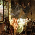 Brulloff Karl (1799 - 1852)  A Dream of a Girl Before a Sunrise  Watercolour on paper, 1830-1833  24.7x33.1 ��  The Pushkin Museum of Fine Arts, Moscow, Russia
