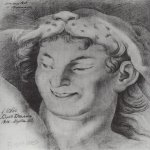 Brulloff Karl (1799 - 1852)	  The head of Bacchus  Paper, pencil Italian, 1811  48x39 cm  The Russian Museum, St. Petersburg, Russia