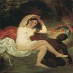 Brulloff Karl (1799 - 1852)  Bathsheba  Oil on canvas, 1832. Unfinished  88x62 см  The Tretyakov Gallery, Moscow, Russia