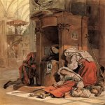Brulloff Karl (1799 - 1852)  Confession of an Italian Woman [Èñïîâåäü èòàëüÿíêè]  Watercolour on paper, 1827-1830  26.2x18.7 ñì  The Russian Museum, St. Petersburg, Russia