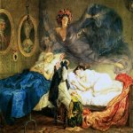 Brulloff Karl (1799 - 1852)  Dreams of Grandmother and Granddaughter  [Сон бабушки и внучки]  Watercolour on paper, 1829  The Russian Museum, St. Petersburg, Russia