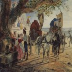 Brulloff Karl (1799 - 1852)  Fete in Albano  Watercolour, varnish, lead pencil on paper, 1830-1833  24.7x33.1 см  The Tretyakov Gallery, Moscow, Russia