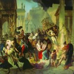 Brulloff Karl (1799 - 1852)  Genserich's Invasion of Rome  Oil on canvas, 1833-1835. Study  88x117,9 Г±Г¬  The Tretyakov Gallery, Moscow, Russia
