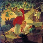 Brulloff Karl (1799 - 1852)  Girl Gathering Grapes in a Suburb of Naples [�������, ���������� �������� � ������������ �������]  Oil on canvas, 1827  The Russian Museum, St. Petersburg, Russia