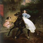 Brulloff Karl (1799 - 1852)  Horsewoman. Portrait of Giovanina and Amacilia Pacini, the Foster Children of Countess Yu. P. Samoilova  Oil on canvas, 1832  The Tretyakov Gallery, Moscow, Russia