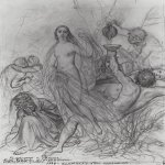 Brulloff Karl (1799 - 1852)	  Innocence, leaving the ground   Sketch of unfulfilled picture  The paper, graphite pencil, 1839  33.6x57 cm  The Russian Museum, St. Petersburg, Russia