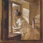 Brulloff Karl (1799 - 1852)  Italian Woman Blowing a Kiss [Женщина, посылающая поцелуй из окна]  Sepia and whitewash on paper, 1826  The Russian Museum, St. Petersburg, Russia