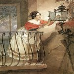 Brulloff Karl (1799 - 1852)  Italian Woman Lightning a Lamp in front of the Image of Madonna  Watercolour, lead pencil, India ink on paper, 1835  29x19 см  The Tretyakov Gallery, Moscow, Russia