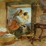 Brulloff Karl (1799 - 1852)  Italian Woman with a Child by a Window  Watercolor on paper, 1831  The Pushkin Museum of Fine Art, Moscow, Russia