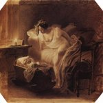 Brulloff Karl (1799 - 1852)  Mother Awoken by Her Crying Child  Sepia, 1831  abouts unknown