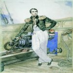 Brulloff Karl (1799 - 1852)  Portrait of V. A. Kornilov on Board the Brig Themistocles  Watercolour on paper, 1835  40,4x28,9 см  The Russian Museum, St. Petersburg, Russia