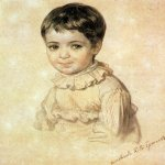 Brulloff Karl (1799 - 1852)  Portrait of Maria Kikina as a Child [Портрет М.П.Кикиной в детстве]  Watercolor on paper, 1817-1820  14x12.2 см  The Tretyakov Gallery, Moscow, Russia
