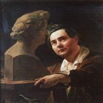 Brulloff Karl (1799 - 1852)  Portrait of Sculptor I. P. Vitaly  Oil on canvas, 1836-1837  94.2x76.3 см  The Tretyakov Gallery, Moscow, Russia