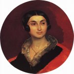 Brulloff Karl (1799 - 1852)  Portrait of Ye. I. Ton, wife of artist К.А.Тоn  Oil on canvas, 1837-1840  56x47 см  The Russian Museum, St-Petersburg, Russia