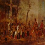 Brulloff Karl (1799 - 1852)	  Procession in Barcelona  Watercolor on paper, 1850-1852  New Art Gallery, Milan, Italy