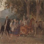 Brulloff Karl (1799 - 1852)  Promenade. Portrait of the Duke of Leuchtenberg, E. Mussart, Ye. I. Mussart, Prince P. R. Bagration, Princess A. A. Bagration, M. I. Zheleznov, N. A. Lukashevich, and K. Bruloff  Watercolor on paper, 1849  31x46 см  The Tretya