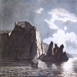 Brulloff Karl (1799 - 1852)	  Rocks and the moon at night  Watercolor on paper, 1824  The Russian Museum, St. Petersburg, Russia
