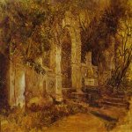 Brulloff Karl (1799 - 1852)  Ruins in Park  Oil on cardboard  The Russian Museum, St. Petersburg, Russia