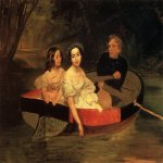 Brulloff Karl (1799 - 1852)  Self-portrait with Baroness Ye. N. Meller-Zakomelskaya and a Girl in a Boat  Oil on canvas, 1833-1835. Unfinished  151.5x190.3 см  The Russian Museum, St. Petersburg, Russia
