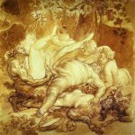 Brulloff Karl (1799 - 1852)  Silen, Satyr and Bacchanals  Sepia and pencil on paper, 1830s  The Russian Museum, St. Petersburg, Russia