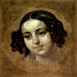 Brulloff Karl (1799 - 1852)  The head of the girls  Oil on canvas, 1830s  35.8x30.4 сm  huvash State Art Museum, Calgary, Russia