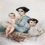 Brulloff Karl (1799 - 1852)   Portrait of Teresa-Michele Tittoni and his sons  Watercolor on paper, 1850-1852  Private Collection