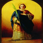Fyodor Bruni (1801-1875)  The Great Martyr Saint Catherine  Oil on canvas, 1841  60,5 x35,4 cm  The State Radishchev Museum of Fine Arts, Saratov, Russia