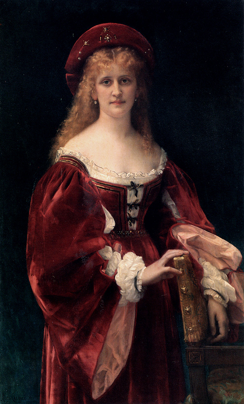 Alexandre Cabanel (1823-1889)  Patricienne de Venise  Oil on canvas, 1881  51 3/8 x 31 1/2 inches (130.5 x 80.3 cm)  Private collection