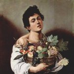 Michelangelo Merisi da Caravaggio, (1571 – 1610)  Boy with a Basket of Fruit  Oil on canvas, 	c. 1593  70 cm × 67 cm (28 in × 26 in)  Galleria Borghese, Rome, Italy