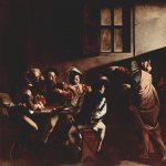 Michelangelo Merisi da Caravaggio, (1571  1610)  The Calling of St Matthew  Oil on canvas, 1599-1600  322 cm &#215; 340 cm (127 in &#215; 134 in)  San Luigi dei Francesi, Rome, Italy