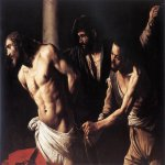 Michelangelo Merisi da Caravaggio, (1571 – 1610)  Christ at the Column  Oil on canvas, c. 1607  134.5 cm × 175.4 cm (53.0 in × 69.1 in)  Musée des Beaux Arts, Rouen, France