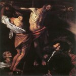 Michelangelo Merisi da Caravaggio, (1571 – 1610)  The Crucifixion of Saint Andrew  Oil on canvas, 1607  202,5 cm × 152,7 cm  Cleveland Museum of Art, Cleveland, United States