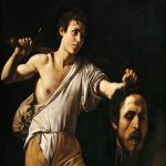 Michelangelo Merisi da Caravaggio, (1571 – 1610)  David with the Head of Goliath  Oil on wood, c. 1607  90.5 cm × 116.5 cm (35.6 in × 45.9 in)  Kunsthistorisches Museum, Vienna, Austria