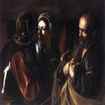 Michelangelo Merisi da Caravaggio, (1571 – 1610)  The Denial of Saint Peter  Oil on canvas, c. 1610  94 cm × 125 cm (37 in × 49 in)  Metropolitan Museum of Art, New york City, United States