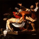 Michelangelo Merisi da Caravaggio, (1571 – 1610)    The Entombment of Christ    Oil on canvas, 1602-1603    300 cm x 203 cm (120 in x 80 in)    Pinacoteca Vaticana, Vatican City, Italy