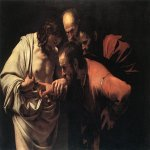 Michelangelo Merisi da Caravaggio, (1571 � 1610)  The Incredulity of Saint Thomas  Oil on canvas, 1601-1602  107 cm × 146 cm (42 in × 57 in)  Sanssouci, Potsdam, Germany