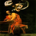 Michelangelo Merisi da Caravaggio, (1571 – 1610)  The Inspiration of Saint Matthew  Oil on canvas, 1602  292 cm × 186 cm (115 in × 73 in)  San Luigi dei Francesi, Rome, Italy